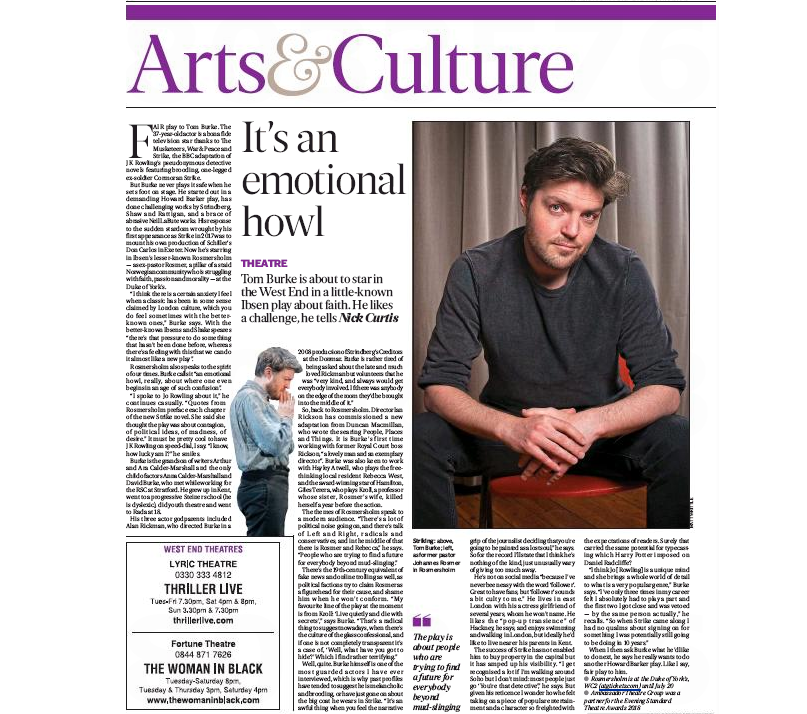 London Evening Standard Newspaper 1st May 2019 Tom Burke Interview