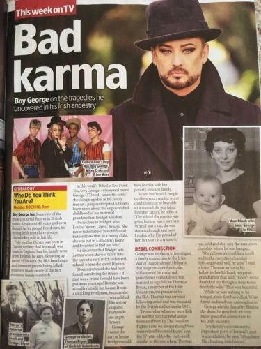TV & Satellite magazine 21 July 2018: Lindsay Lohan Boy George Aidan Turner Benedict Cumberbatch