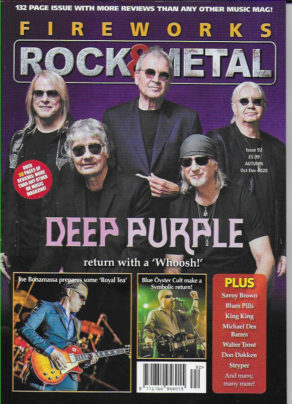 Fireworks Magazine Issue 92: DEEP PURPLE COVER AND FEATURE Joe Bonamassa