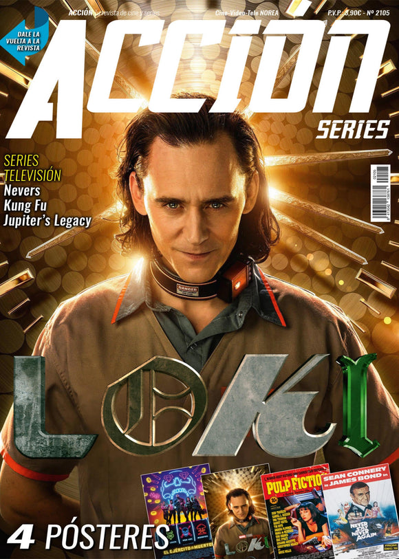 NEW! TOM HIDDLESTON LOKI MARVEL + POSTER Acción Cine Mag May 2021