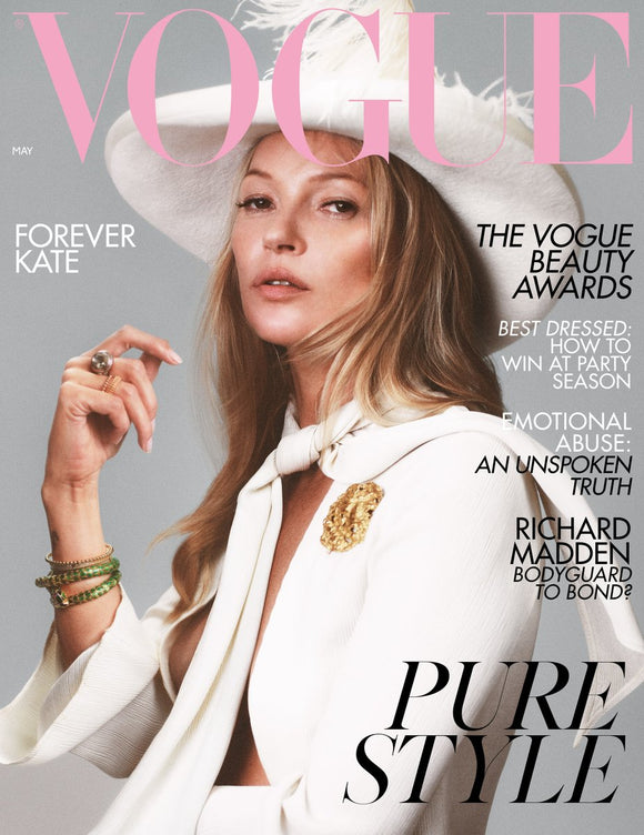 UK Vogue magazine May 2019: KATE MOSS COVER AND FEATURE RICHARD MADDEN