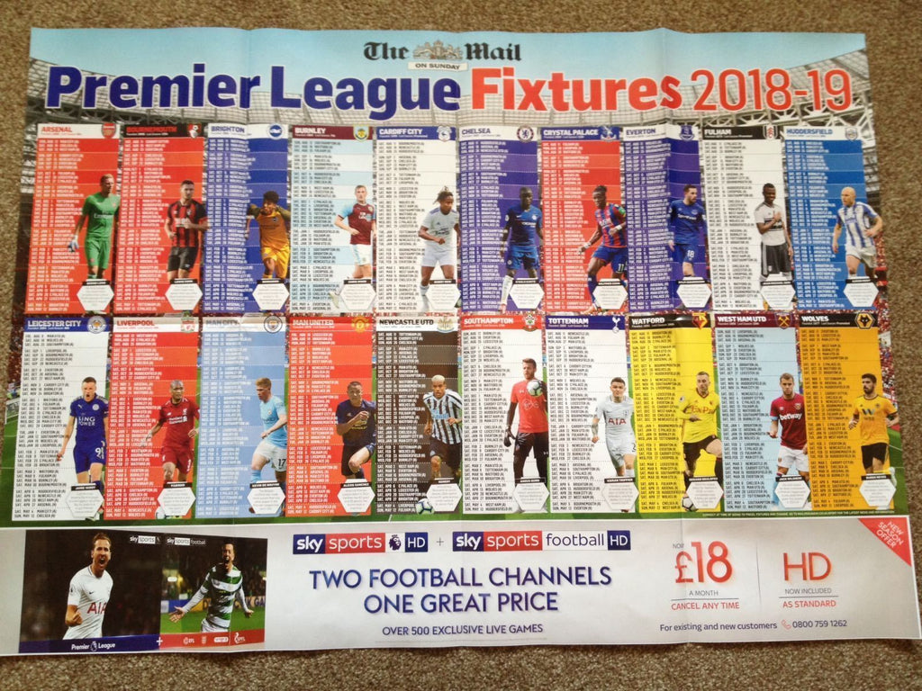 018/19 PREMIER LEAGUE CALENDAR/FIXTURES WALL CHART - THE SUNDAY DAILY MAIL