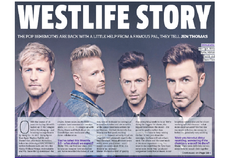 Metro Newspaper 31st May 2019: Westlife Interview