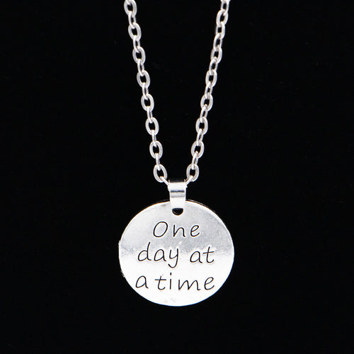 Silver One Day at a Time Necklace