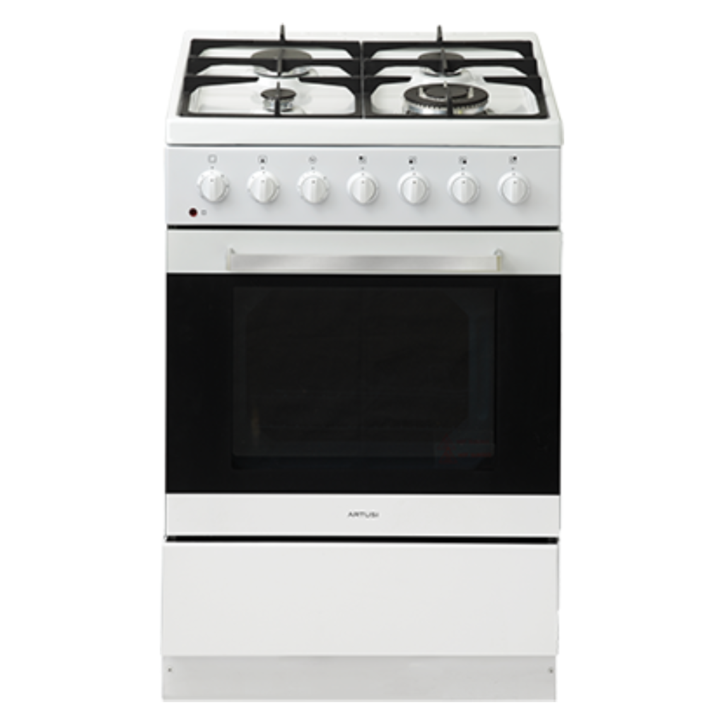 Artusi AFGE6070W 60cm Freestanding White Dual Fuel Oven/Stove - Stove Doctor
