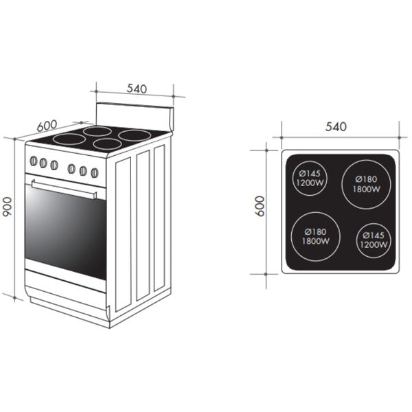Artusi AFDC5470W 54cm Freestanding White Electric Stove