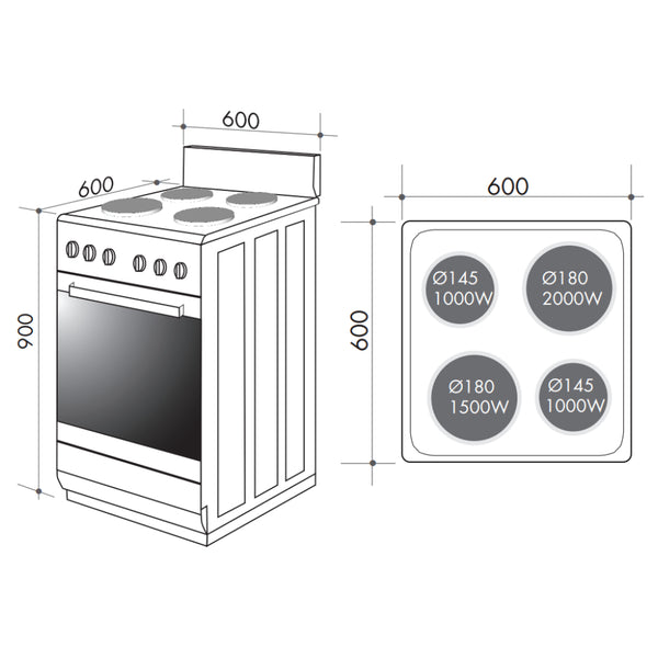 Artusi AFE607W 60cm Freestanding Electric Stove