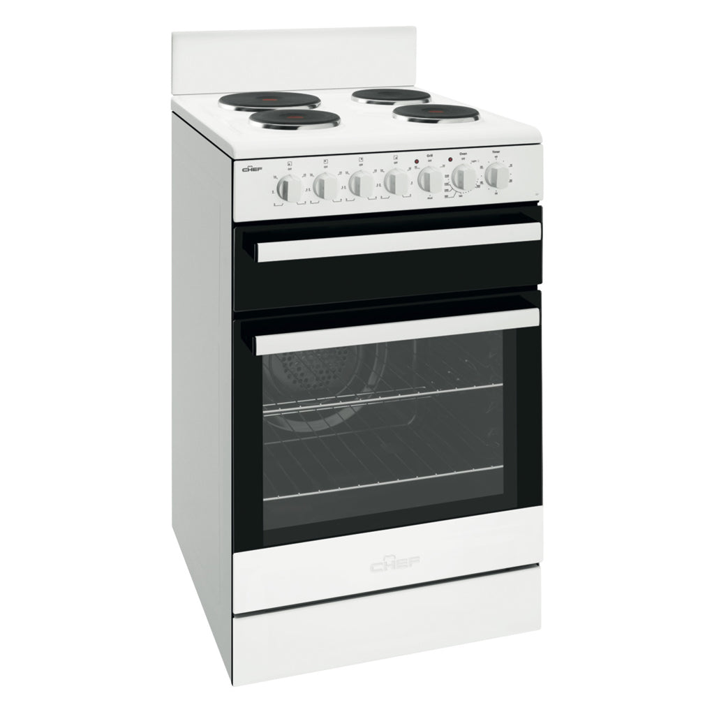 Chef CFE537WB 54cm Electric Freestanding Stove - Stove Doctor