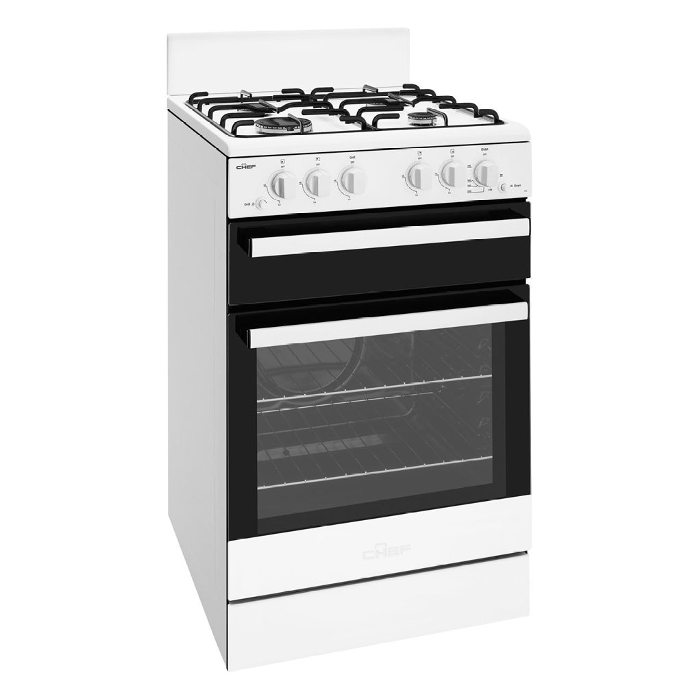 CHEF CFG503WBNG 54cm Freestanding Natural Gas Stove - Stove Doctor