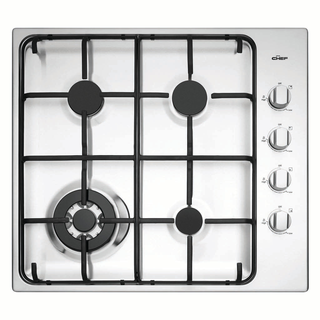 Chef CHG646SB 60cm Gas Stainless Steel Cooktop - Stove Doctor