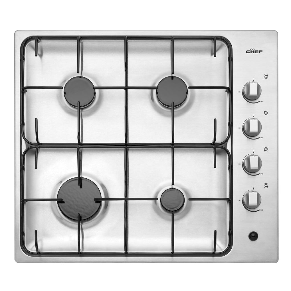 Chef GHS607S 60cm Gas Stainless Steel Cooktop - Stove Doctor