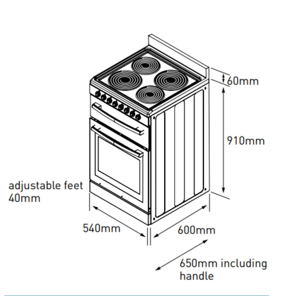Euromaid F54RW 54cm Freestanding Electric Stove