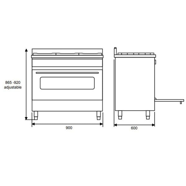 Euromaid PS90S 90cm Freestanding Dual Fuel Stove