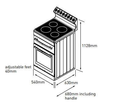 Euromaid R54CW 54cm Freestanding Electric Stove