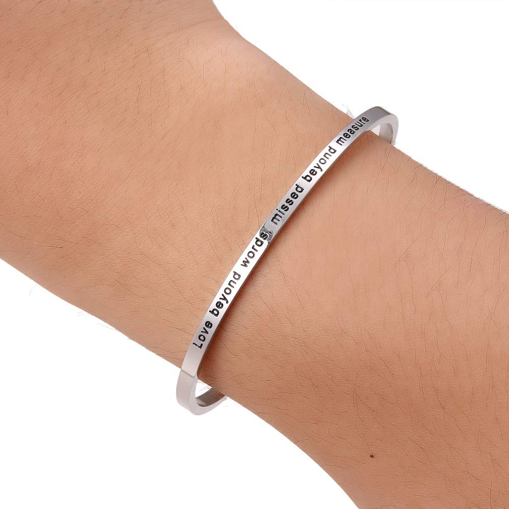 HAQUIL ''Love Beyond Words, Missed Beyond Measure'' Personalized Cuff Bracelet