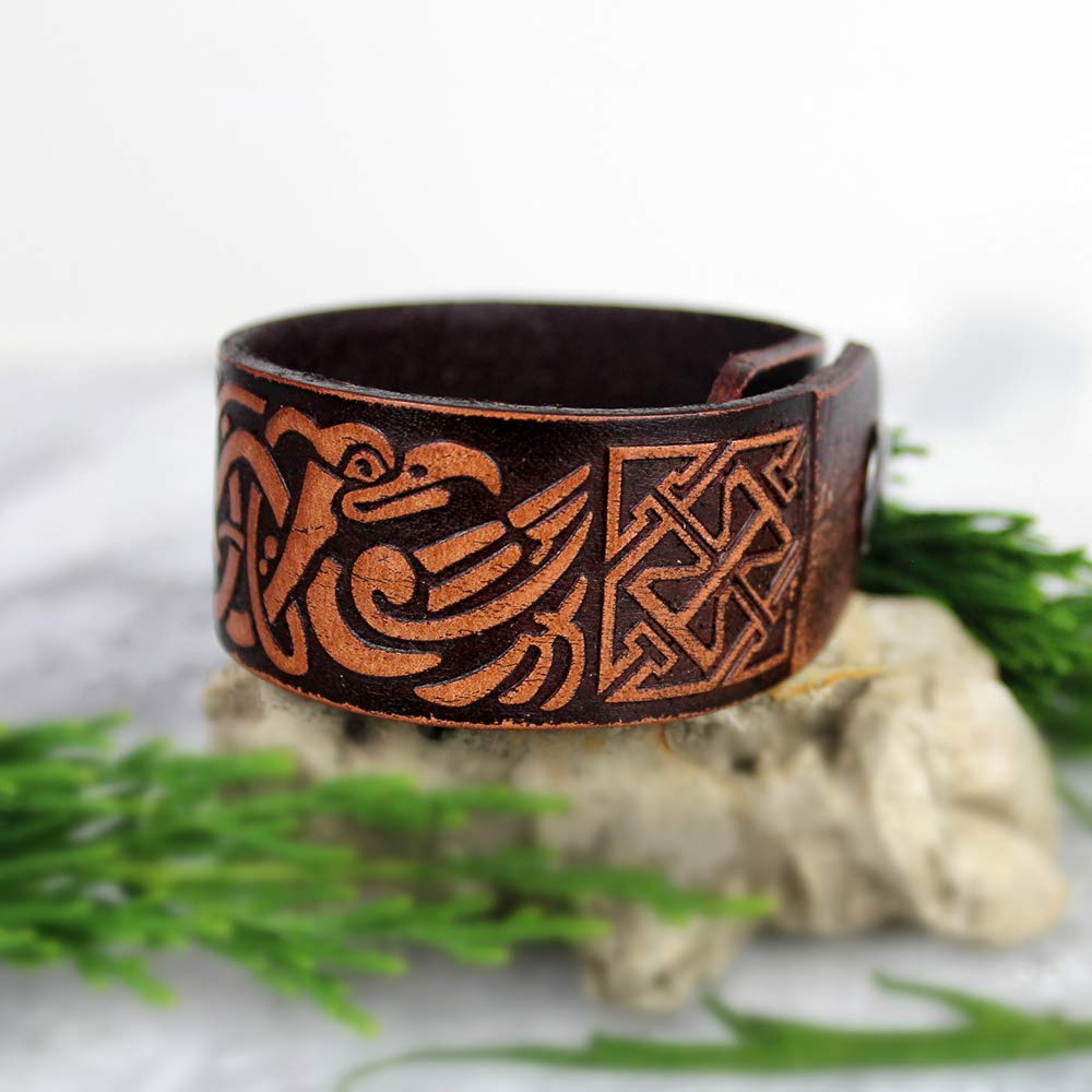 HAQUIL Viking Norse Ravens of Odin Leather Bracelet