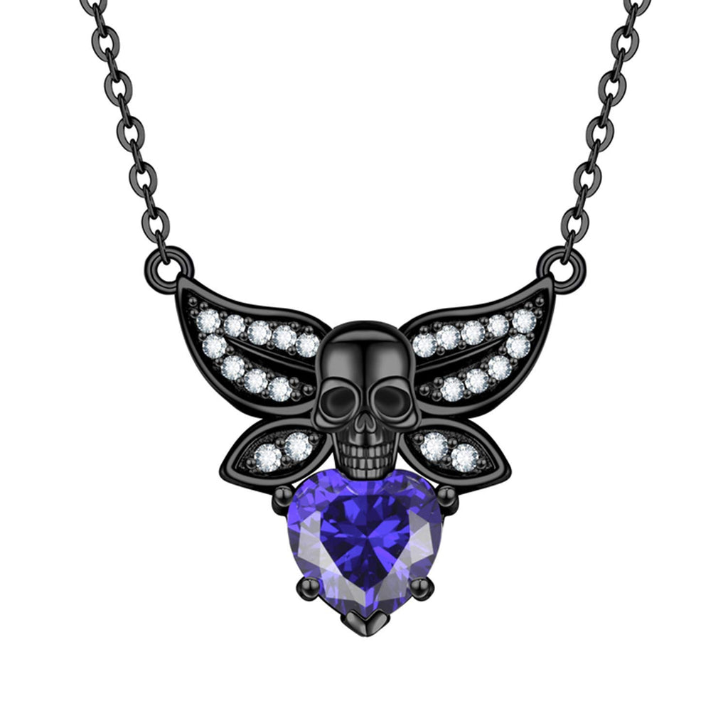 HAQUIL Punk Angel Skull Heart Necklace