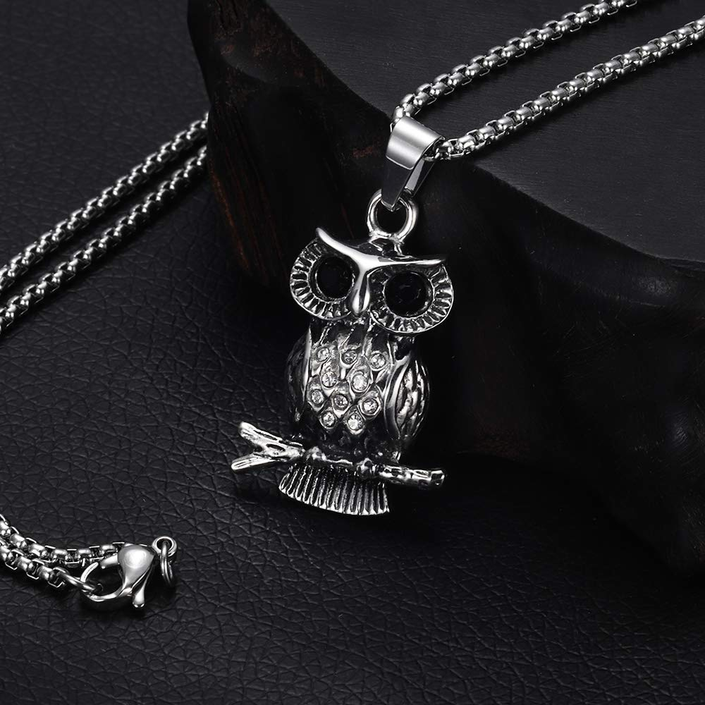 HAQUIL Crystal Silver Tone Owl on The Tree Necklace