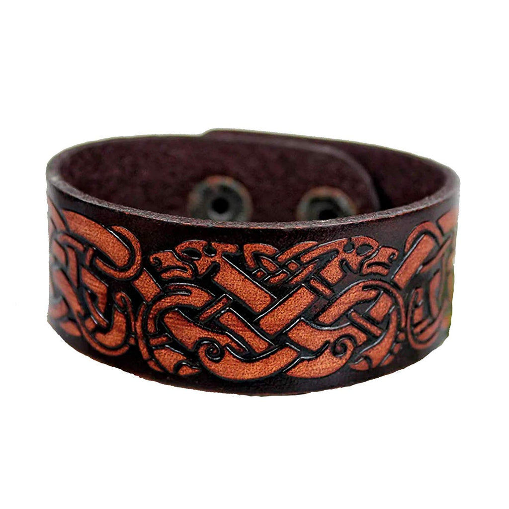 HAQUIL Viking Norse Wolves Amulet Leather Bracelet