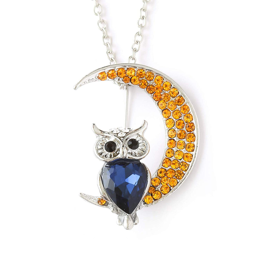 HAQUIL Crystal Crescent Owl Brooch Necklace