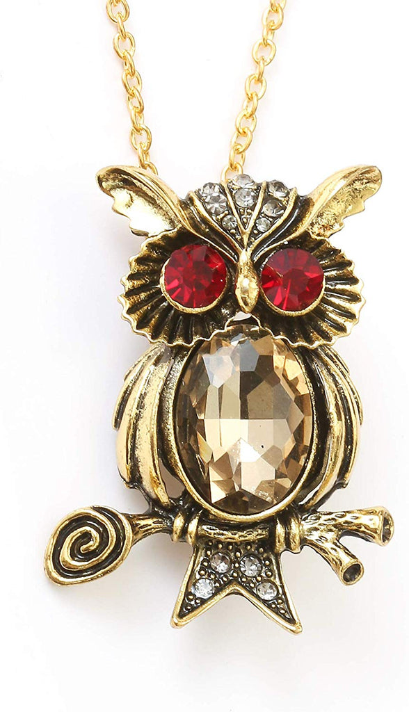 HAQUIL Crystal Antique Bronze Owl Brooch Necklace