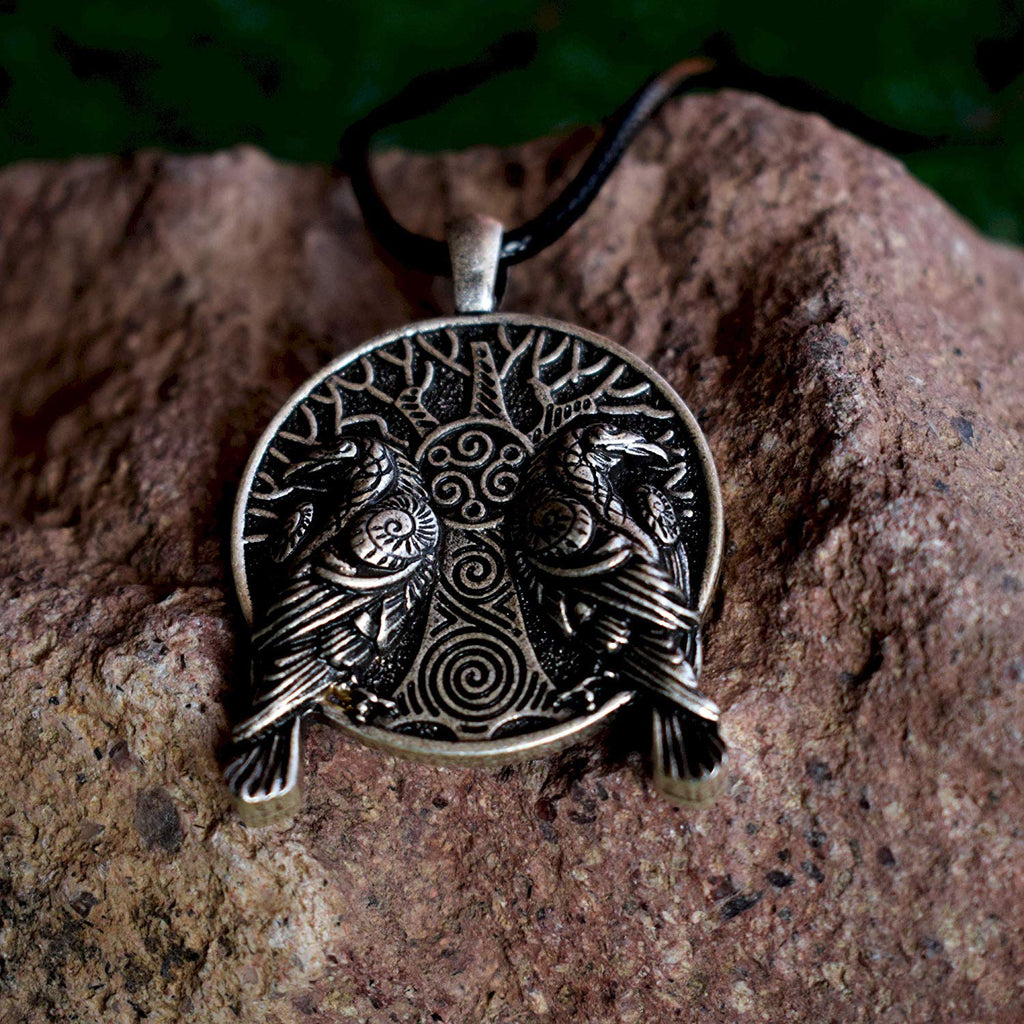 HAQUIL Viking Norse Ravens Tree of Life Necklace