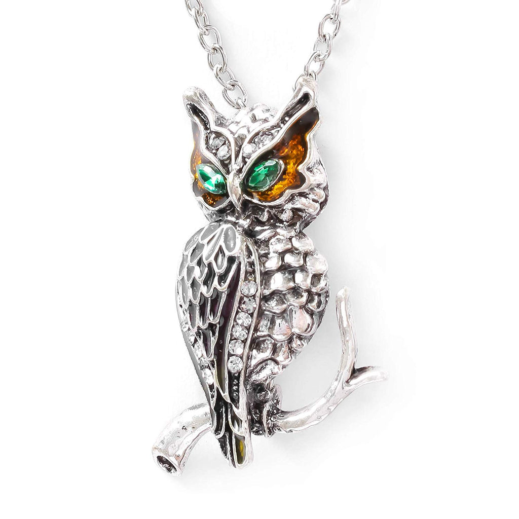HAQUIL Crystal Fancy Owl Brooch Necklace