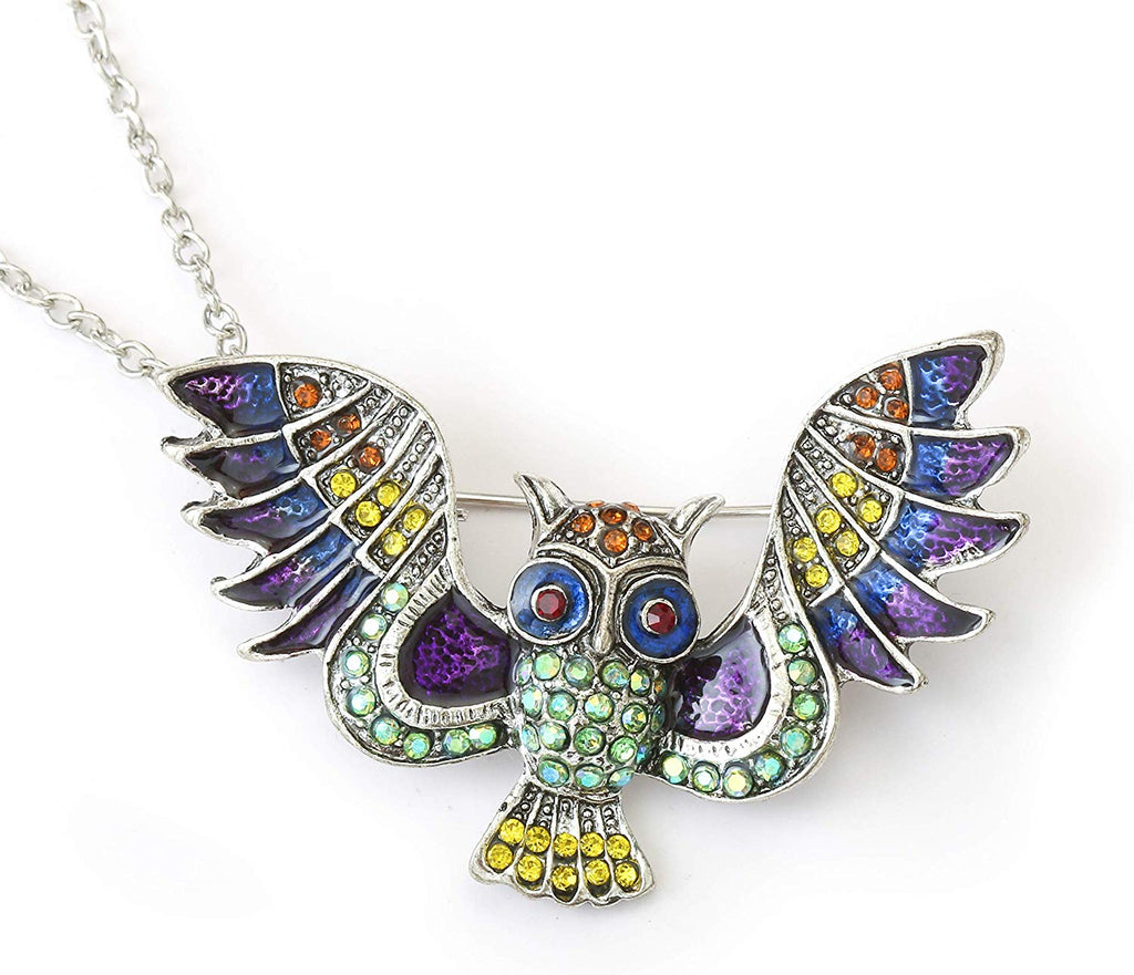 HAQUIL Crystal Flying Owl Brooch Necklace