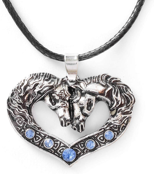 HAQUIL Vintage Blue Crystal Horse Couple Necklace