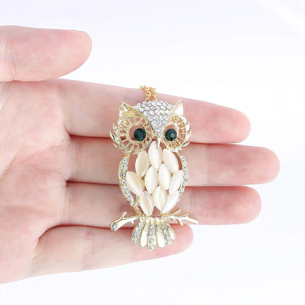 HAQUIL Crystal Elegant Owl Brooch Necklace