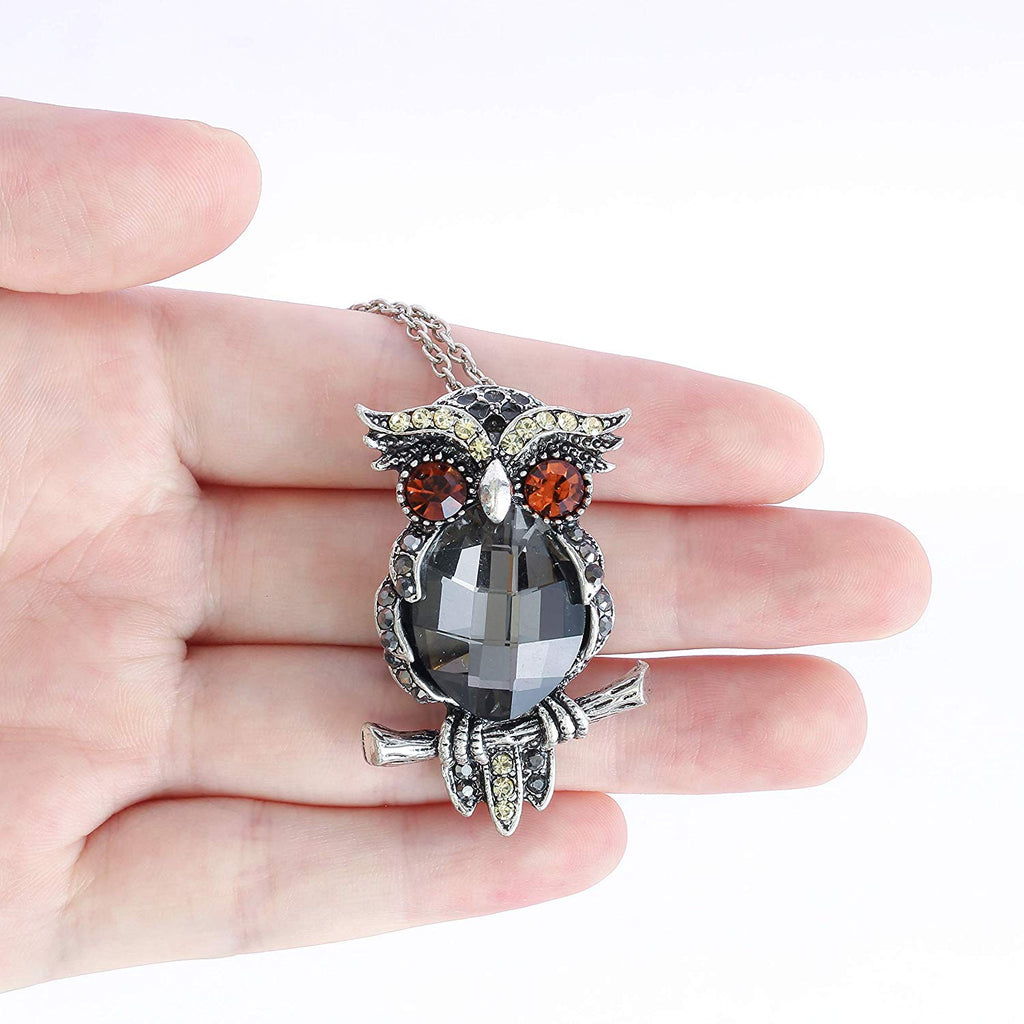 HAQUIL Crystal Vintage Owl Brooch Necklace