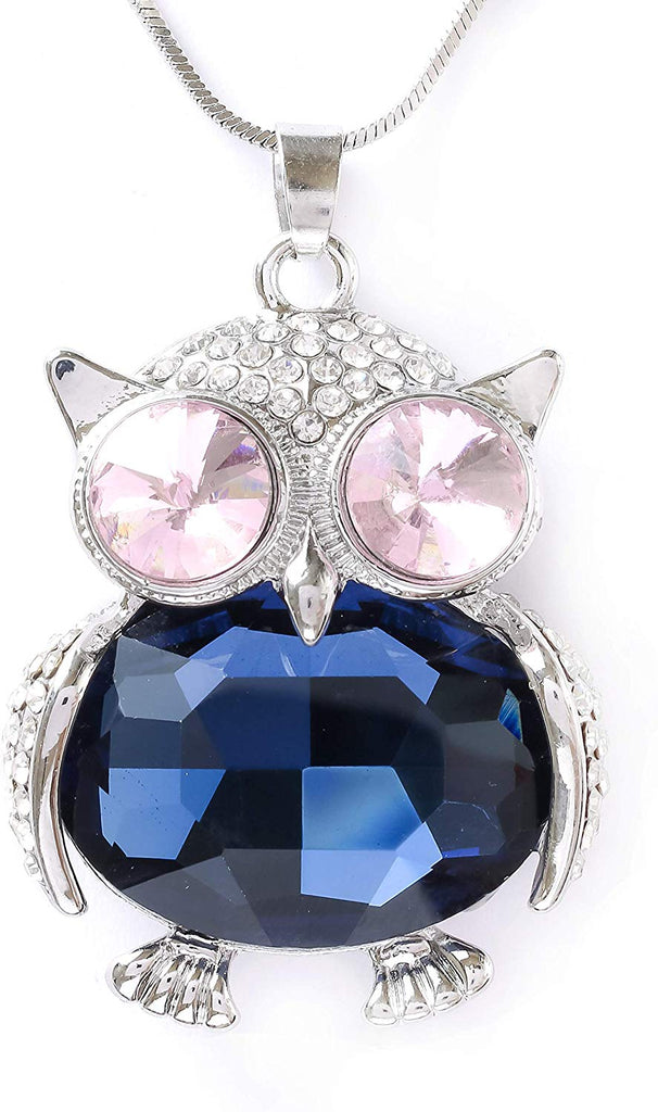 HAQUIL Crystal Cubic Zirconia Owl Pendant Necklace