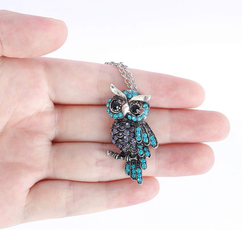 HAQUIL Crystal Owl On The Tree Brooch Necklace