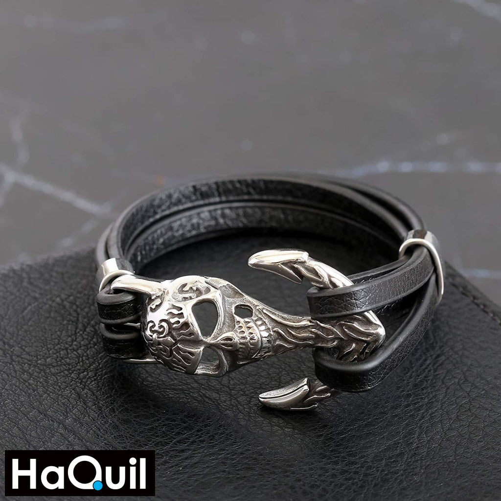 Haquil Punk Anchor Skull Leather Bracelet Jewelry