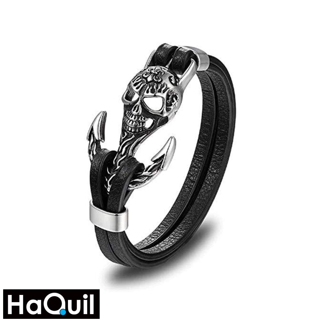Haquil Punk Anchor Skull Leather Bracelet Stainless-Steel / Boys Leather Metal Jewelry