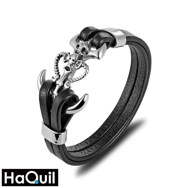 Haquil Punk Anchor Skull With Horn Bracelet Alloy / Mens Leather Metal Jewelry