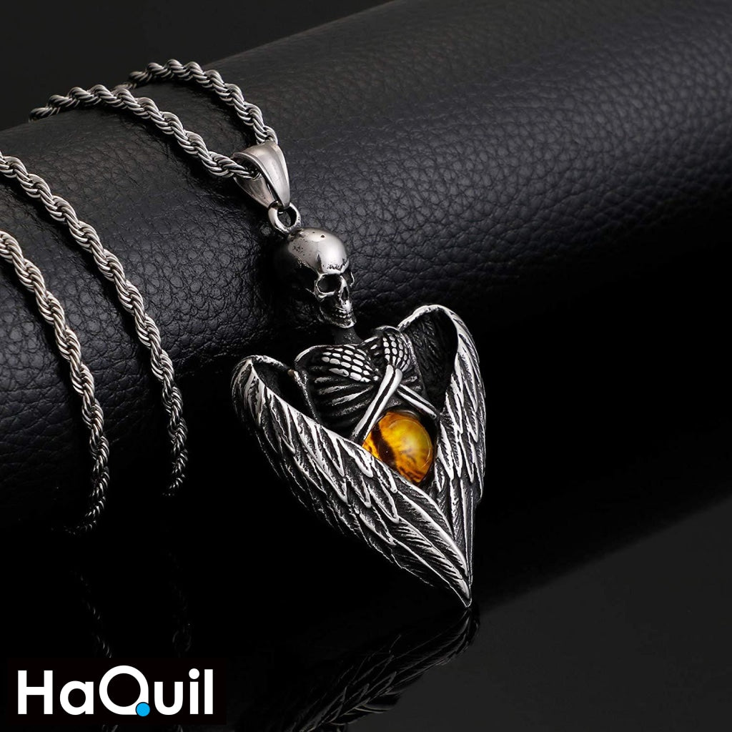Haquil Punk Angel Skull Holding Dragon Eyes Necklace Jewelry