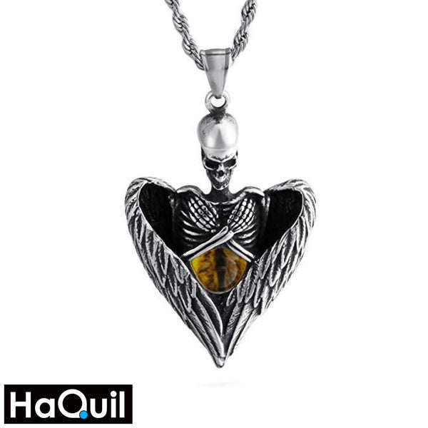 Haquil Punk Angel Skull Holding Dragon Eyes Necklace Stainless-Steel / Womens Metal Jewelry