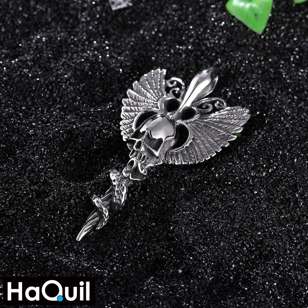 Haquil Punk Angel Wings Skull Necklace Jewelry