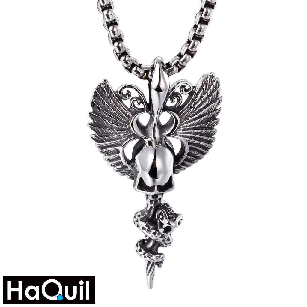 Haquil Punk Angel Wings Skull Necklace Stainless-Steel / Womens Metal Jewelry