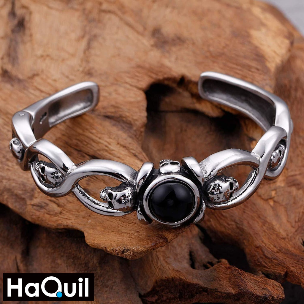 Haquil Punk Black Crystal Stainless Steel Skull Bracelet Jewelry