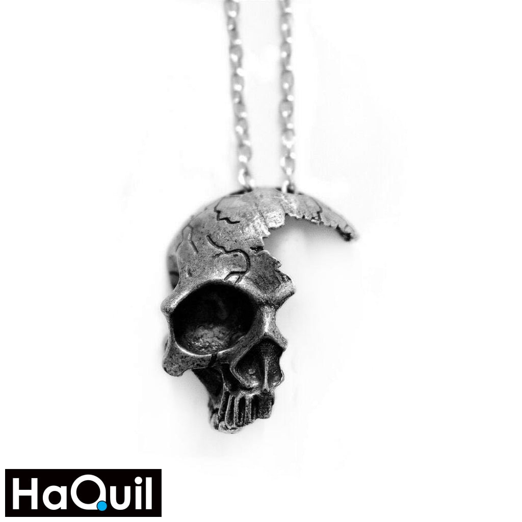 Haquil Punk Broken Half Skull Necklace For Souls Alloy / Boys Metal Jewelry