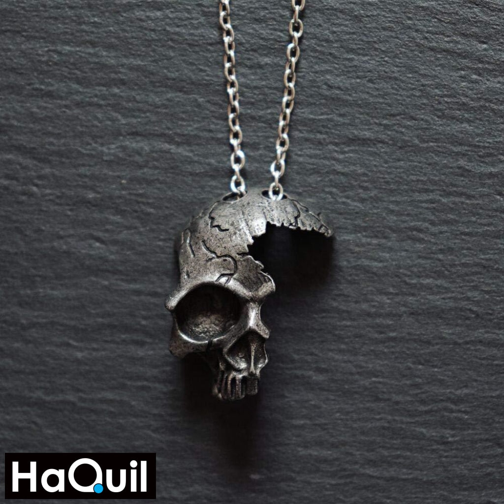 Haquil Punk Broken Half Skull Necklace For Souls Jewelry