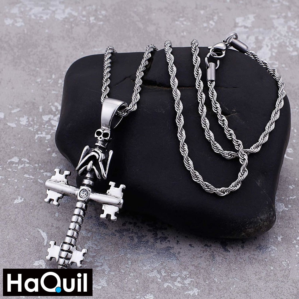 Haquil Punk Cross Key Skull Necklace Jewelry