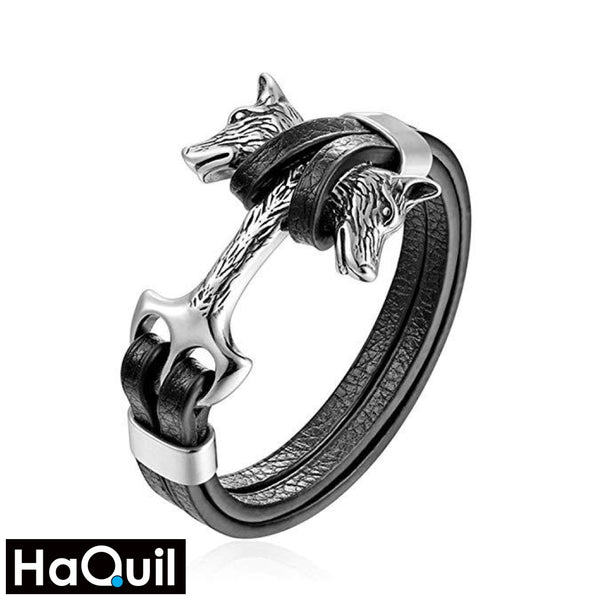 Haquil Punk Double Wolf Shackles Leather Bracelet Stainless-Steel / Boys Leather Metal Jewelry