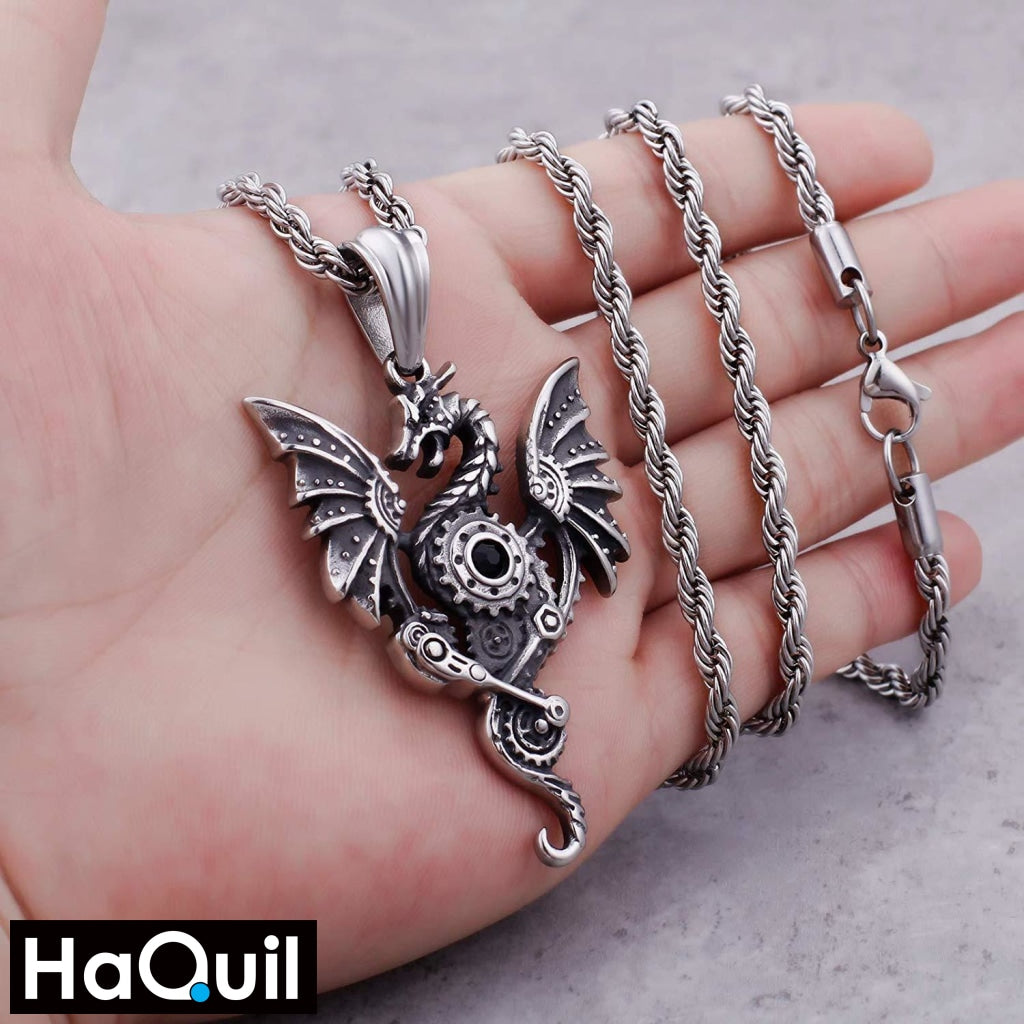 Haquil Punk Engine Dragon Necklace Jewelry