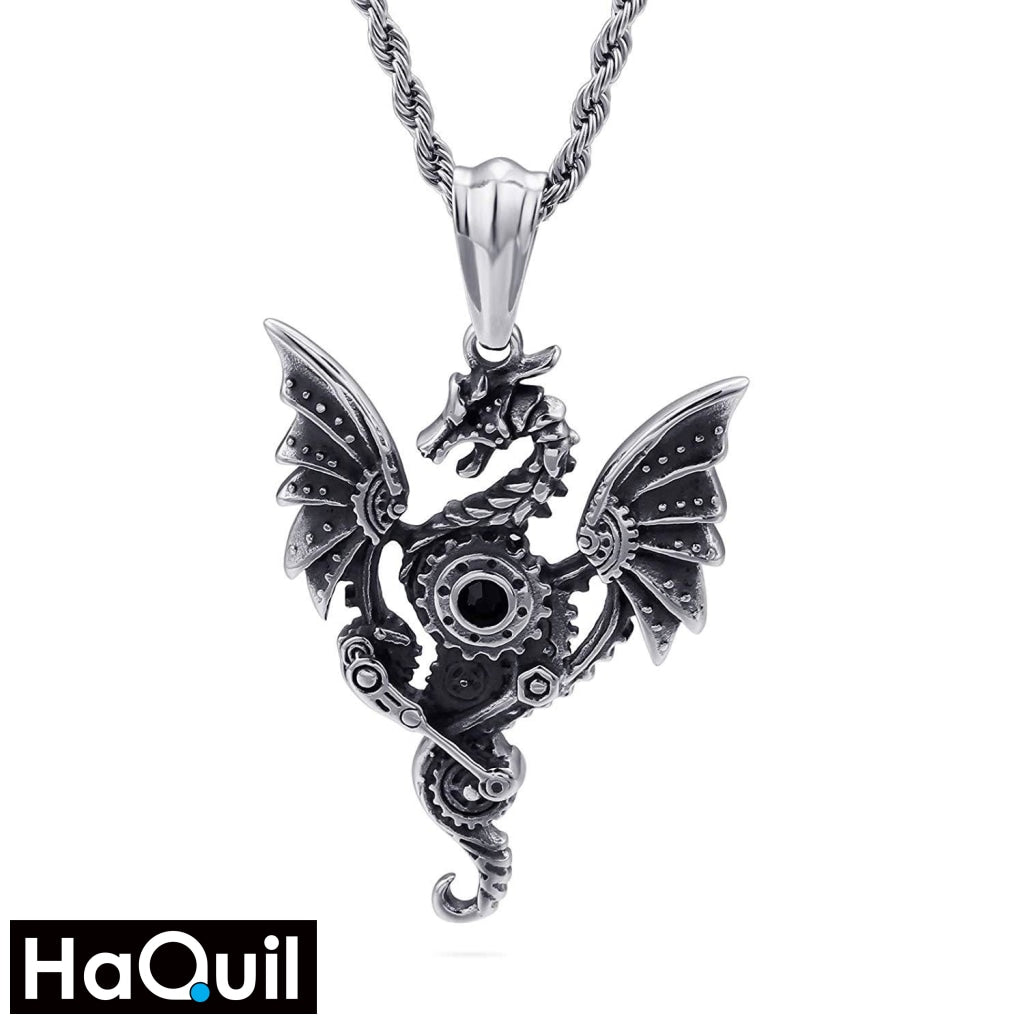 Haquil Punk Engine Dragon Necklace Stainless-Steel / Boys Metal Jewelry