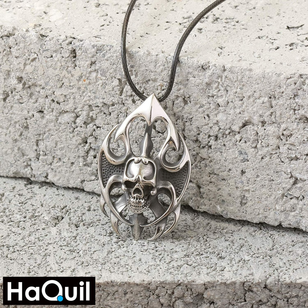 Haquil Punk Fire Skull Necklace Jewelry