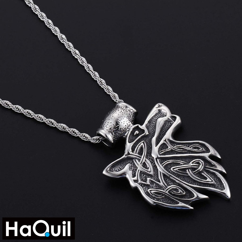 Haquil Punk Fire Wolf Necklace Jewelry