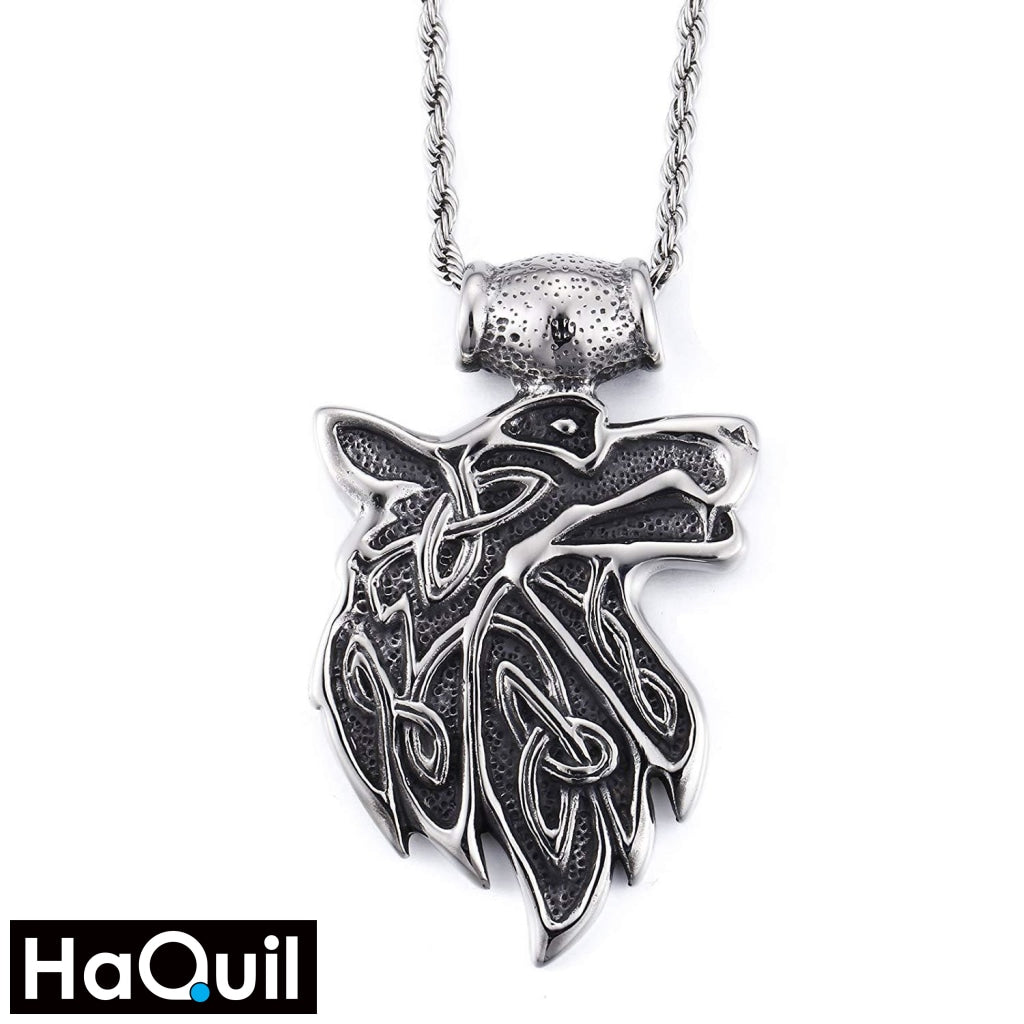 Haquil Punk Fire Wolf Necklace Stainless-Steel / Unisex-Child Metal Jewelry